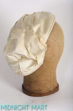 1950s hat/ 50s ivory satin fascinator/ bridal by MidnightMart, $52.00