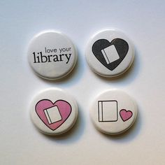 Library Love Pinback Buttons by KlingerCreative on Etsy, $5.00