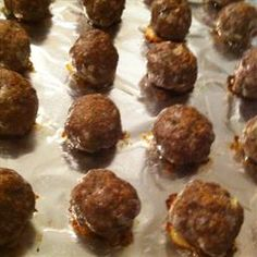 Easiest Ever Baked Meatballs recipe  Could tweak this a bit... dash of dale's? maybe?