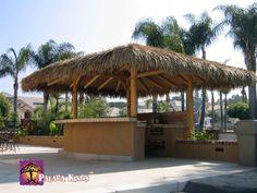Palapa Kings™ Custom Mexican Raincape Palapa over the Bar-B-Q, http://palapakings.com #palapa