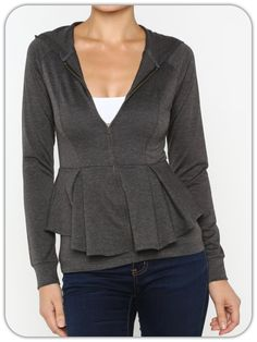 Fall is almost here and cooler temps will make you want to throw on this NEW Charcoal Peplum Zip Up w/ Hood. Slightly girly and looks great with a scarf!