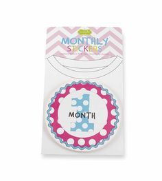 Girl Monthly Milestone Stickers - Set of 12 colorful milestone stickers from Mud Pie mark baby's growth from 1 to 12 months. Sticks easily to any outfit and marks every occasion for a lifetime. Removable. Makes a great baby shower gift!  Ships quickly.