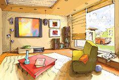 Light Living Room apartment, architecture, art, bookshelf, carpet, comfortable, cozy, design, domestic, equipment, furniture, home, house, interior, jalousie, lifestyle, light, lighting, living, modern, paintings, residential, room, seat, shelf, shiny, simplicity, sofa, table, tv, Light Living Room