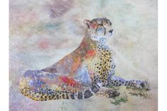 Jogi Cheetah | Sophie Standing Art | Textile embroidery art from Africa