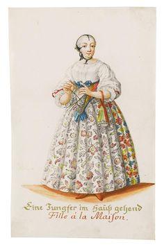 Helena Regina Rohbausch (née Motz) (German artist and engraver) 1735 - 1769 - Eine Jungfer im Haus Gehend (Fille à la Maison), ca. 1750