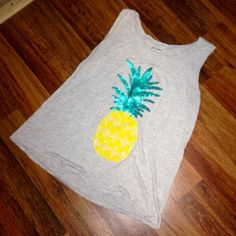 Apt. 9 Sequin Pineapple Tank Top Apt. 9 Sequin Pineapple Tank Top. Worn only once and in excellent condition! Unfortunately it shrunk in the wash...it's a size L but now fits like a M. So cute for spring/summer! Open to offers! Apt. 9 Tops Tank Tops