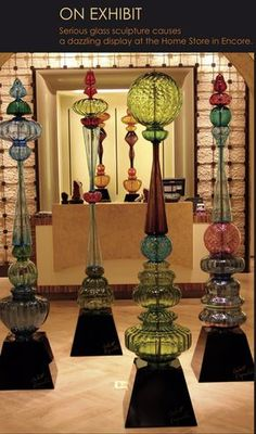 Glass Totem Towers 2 - Dave Borchers creates 6-7 foot tall mixed media sculpture that combine found art-glass from the 1920's-1970's,