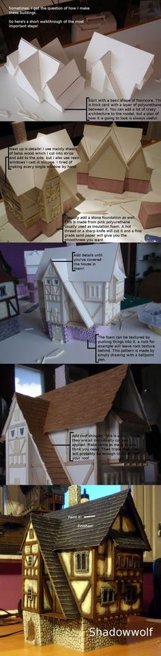 Warhammer Building Walkthrough by dlshadowwolf miniatures minis terrain building… Train Miniature, Miniature Houses, Putz Houses, Fairy Houses, Chateau Fort Jouet, Warhammer Terrain, 40k Terrain, Paper Houses, Train Layouts