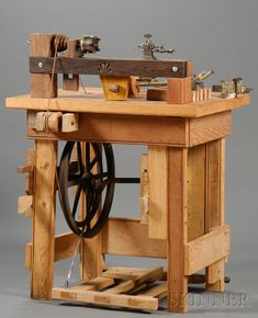 Oak and Walnut Foot Treadle Lathe | Sale Number 2502, Lot Number 227 | Skinner Auctioneers