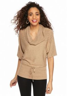 New Directions  Shimmer Cowl Neck Sweater