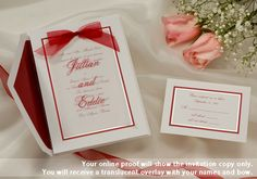 Winter Wedding Invitations feature red border and bow. Invitations for Christmas or valentines day holiday weddings by Wedding Invitations -The Office Gal