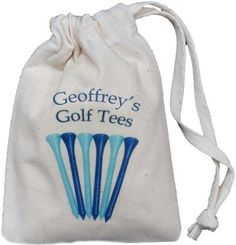 Personalised - Golf Tee Bag - Tiny BLUE Drawstring Cotton Bag - Blue design - SUPPLIED EMPTY - Any name printed! The Cotton Bag Store Ltd, http://www.amazon.co.uk/dp/B0095HZ3QK/ref=cm_sw_r_pi_dp_uvVxsb03R460E