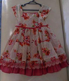 Vestido Infantil Estampado Com Elástico Nas Costas - R$ 89,90 em Mercado Livre