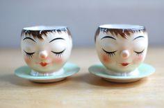 Vintage Sleeping Egg Cup Heads Set of 2 KW 220 Porcelain Lefton?