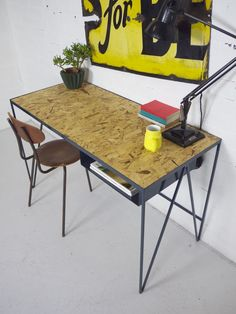 Image of Study desk in blue with OSB top