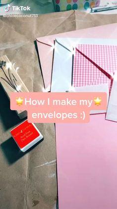 Diy Crafts Hacks, Diy Crafts For Gifts, Cute Crafts, Crafts To Do, Paper Crafts, Diys, How To Make An Envelope, How To Make Envelopes, Pen Pal Letters