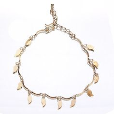 18k Plated Gold Golden Leaves Hanging Anklet Chain for Feet Decoration