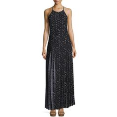 Michael Michael Kors Pleated Floral-Print Maxi Dress (€240) ❤ liked on Polyvore featuring dresses, black, maxi dresses, floral maxi dress, pleated maxi dress, floral print maxi dress and halter top