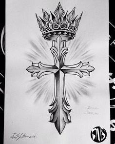 Crown Tattoo Design, Tattoo Design Drawings, Tattoo Sketches, Cross With Wings Tattoo, Cross Tattoo For Men, Hand Tattoos, Body Art Tattoos, Sleeve Tattoos, Angel Tattoo Designs
