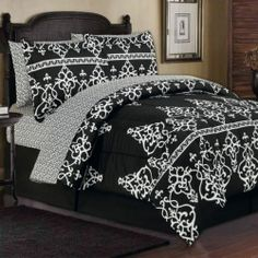 8pc KING TOILE FRENCH DAMASK BLACK & WHITE ARABESQUE COMFORTER BED SET W/SHEETS