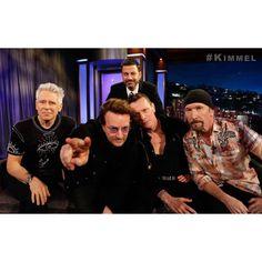 Larry, Bono, Adam & The Edge! The great and powerful @U2! #Kimmel #U2TheJoshuaTree2017