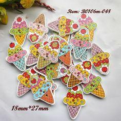 karışık renkli dondurma karikatür düğmeleri renkli tahta scrapbooking düğmeleri zanaat decrative aksesuarları toptan