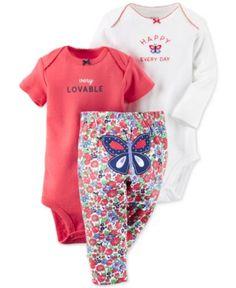 Carter's Baby Girls' 3-Piece Bodysuit & Floral-Print Pants Set  | macys.com