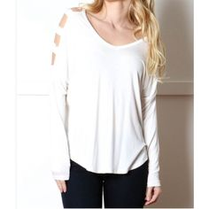 """🔴BOGO FREE🔴 V-neck Cold Shoulder Panel Top *NWOT *V-neck *Long sleeves *Cold shoulder arm panels *Comfortable loose fit *Rayon/spandex *L  Armpit-to-armpit: 26"""" Length: 24""""  •NO TRADE/HOLD  •YES BUNDLES   •PLEASE ASK QUESTIONS & READ DESCRIPTIONS. Measurements and sizing recommendations are for guidance purposes only. I cannot guarantee fit❗️ Boutique Tops Tees - Long Sleeve"""