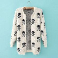 2016 new autumn and winter sweater knit wool sweater Women hippocampus skull women cardigan fashion loose sweater outwear coat