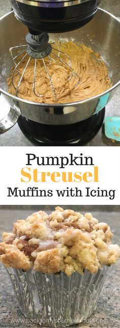 I love these easy pumpkin streusel muffins. It's like a coffee cake and muffin dessert rolled into one. It's a great Fall pumpkin recipe.