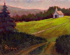 Original painting by Rosage... NC Landscape... Old Church in Blue Ridge Mountains by Bernie Rosage Jr.