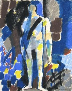 Keith Vaughan - Standing Figure - Pastel and Charcoal on Board, 37 x 29 cm – 14 ½ x 11 ½ in, Signed & Dated 1961