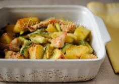 Strips of chicken potatoes and zucchini gratin vickyart art in the kitchen Italian Meat Dishes, Italian Meats, Italian Recipes, Meat Recipes, Chicken Recipes, Cooking Recipes, Healthy Recipes, Polenta, Healthy Cooking