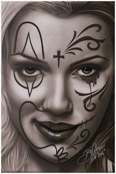 Devious Deception by Big Ceeze Sexy Clown Latina Framed Fine Art Print
