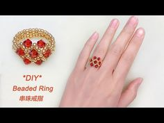 DIY Beaded Vintage Ring with Red Bicone Crystal Beads and Gold Seed Beads复古. - DIY Beaded Vintage Ring with Red Bicone Crystal Beads and Gold Seed Beads复古风串珠戒指 – - Diy Jewelry Rings, Diy Jewelry Unique, Diy Rings, Bead Jewellery, Seed Bead Jewelry, Beaded Rings, Beaded Jewelry, Unique Rings, Seed Beads