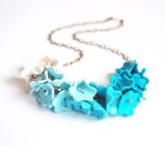 Ombre Blue Necklace  turquoise necklace by BrightFloralJewelry