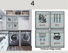 A New Spin On Laundry Room Art!  Charming SET OF 4 laundry room artisan prints are a fun and whimsical way to lighten up the load and brighten up your laundry room year round!
