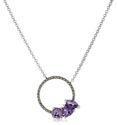 "Judith Jack ""Geometrics"" Amethyst Stones Sterling Silver and Marcasite Pendant Necklace"