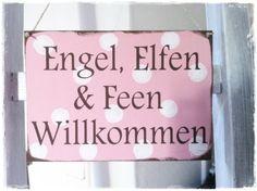 """Holzschild """"Engel, Elfen..."""" von Lillelund by Lillemelle auf DaWanda.com"""