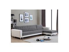 Canapé d'angle convertible et réversible en tissu et simili WILLIS - Blanc/gris