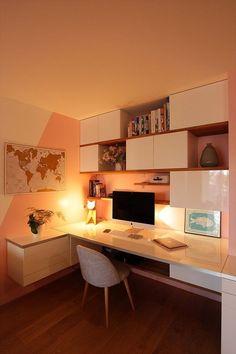 Study Room Design, Study Room Decor, Small Room Design, Room Design Bedroom, Room Ideas Bedroom, Small Room Bedroom, Home Room Design, Home Office Design, Home Office Decor