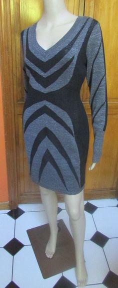 Buffalo by David Bitton Gray Black Glitter Sweater Dress Long Sleeve Sz M NWT #Buffalo #SweaterDress