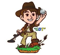 GDT Mascot - Finding a Geo Detecting Treasure Cache Nickel Coin! Metal Detecting, Geocaching, GeoDetecting.com