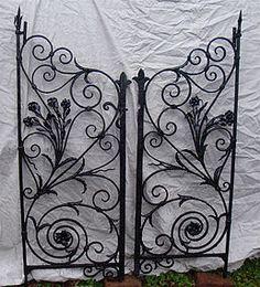 Pair of antique hand-wrought iron garden gates