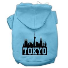 Tokyo Skyline Screen Print Pet Hoodies Baby Blue Size Med (12)