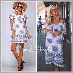 """Lavender Medallion Print Dress Lovely in Lavender on/off shoulder dress featuring crochet lace trim hemline and ruffle bodice. Made of rayon and Fully lined. Size S, M, L.                                                                           Small Bust 36"""" Hips 40"""" Length 33""""  Medium Bust 38"""" Hips 42"""" Length 33.5""""  Large Bust 40"""" Hips 44"""" Length 34"""" pink Threads & Trends Dresses"""