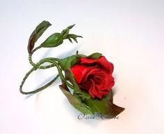 Leather Jewelry Rose bracelet. Red Rose branch by FeltSilkArtGift