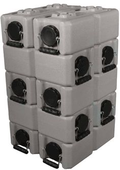 10 Pack of WaterBrick Standard 3.5 Gallon - Tan: stackable containers for water or food storage in easily movable sizes.