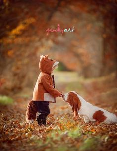 Looking for a fun Halloween Costume that includes the family dog? Check out this adorable Fox and Hound.