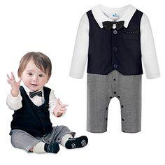 225856a38 Baby Boys Jumpsuit Romper Vest Bowtie 3 Pieces Clothes Gentleman Tuxedo  Suit >>